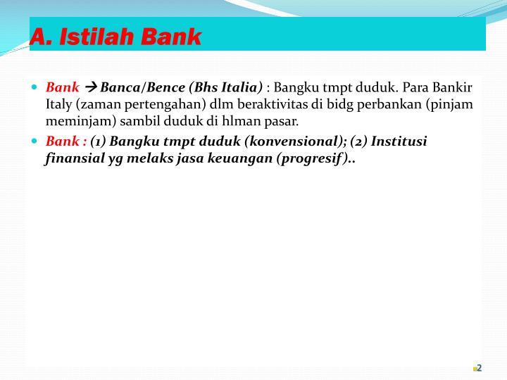 A istilah bank