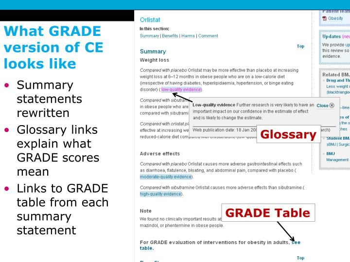 What GRADE version of CE looks like