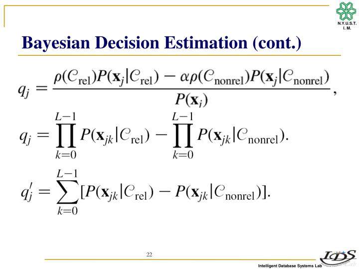 Bayesian Decision Estimation (cont.)
