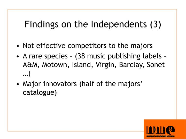 Findings on the Independents (3)