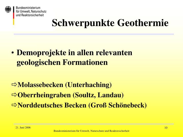 Schwerpunkte Geothermie