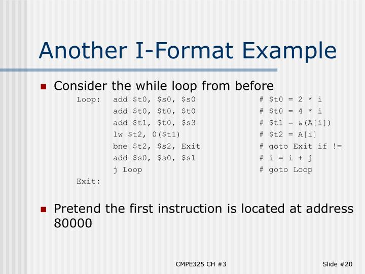 Another I-Format Example