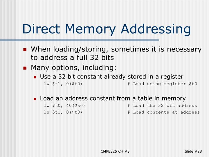 Direct Memory Addressing