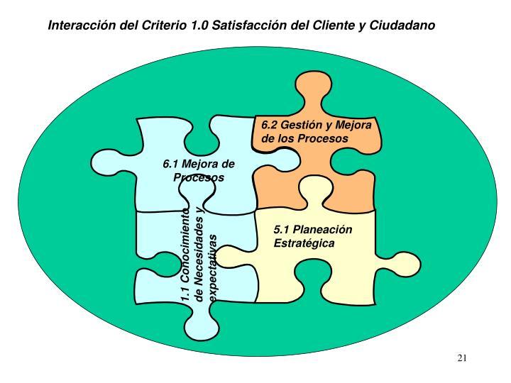 Interacción del Criterio 1.0 Satisfacción del Cliente y Ciudadano