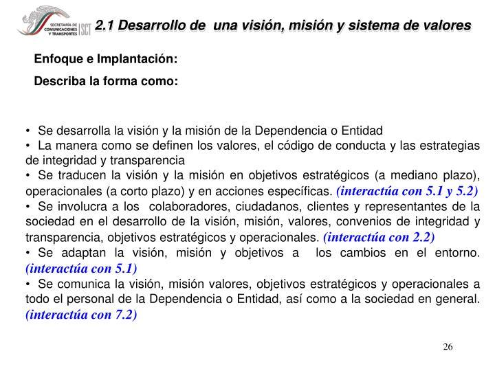 2.1 Desarrollo de  una visión, misión y sistema de valores
