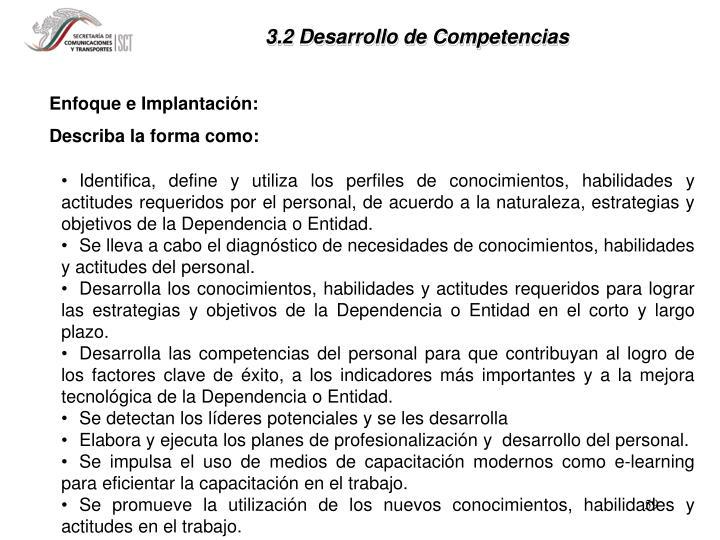 3.2 Desarrollo de Competencias