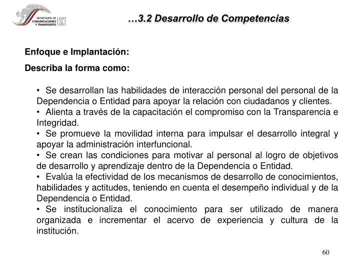 …3.2 Desarrollo de Competencias