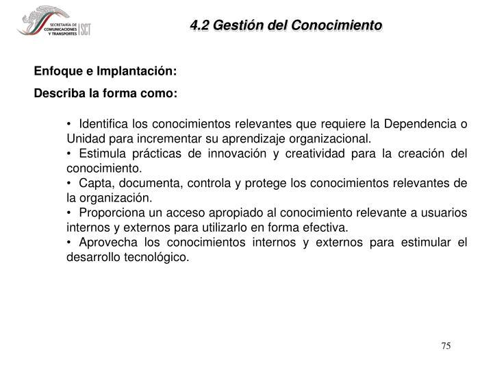 4.2 Gestión del Conocimiento