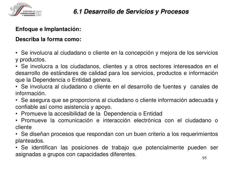 6.1 Desarrollo de Servicios y Procesos
