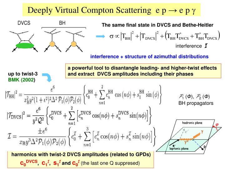 Deeply virtual compton scattering e p e p g