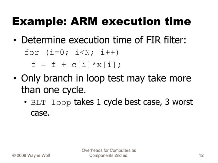 Example: ARM execution time