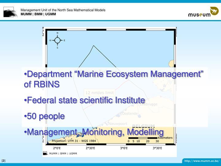 "Department ""Marine Ecosystem Management"" of RBINS"