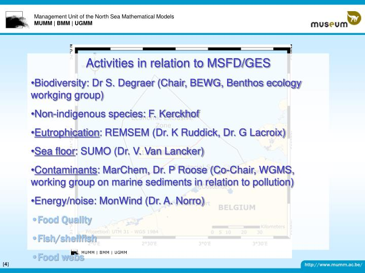 Activities in relation to MSFD/GES