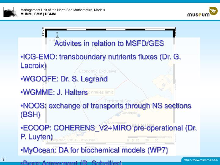 Activites in relation to MSFD/GES