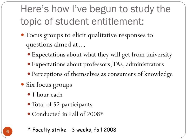 Here's how I've begun to study the topic of student entitlement: