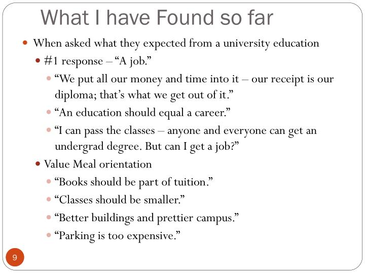 When asked what they expected from a university education