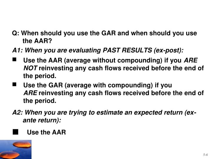 Use the AAR (average without compounding) if you