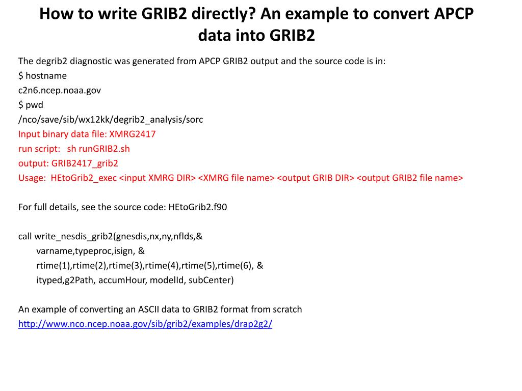 PPT - GRIB2 usage at NCEP PowerPoint Presentation - ID:3263191