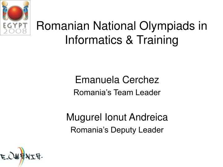 romanian national olympiads in informatics training n.