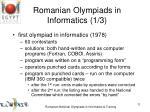 romanian olympiads in informatics 1 3