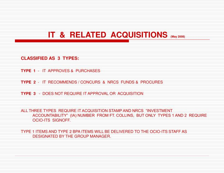 it related acquisitions may 2008 n.