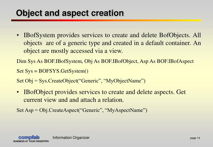 Object and aspect creation