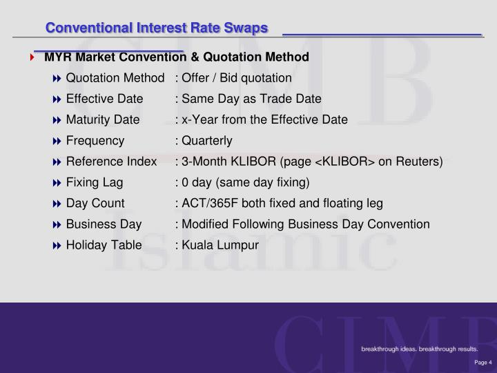 Conventional Interest Rate Swaps