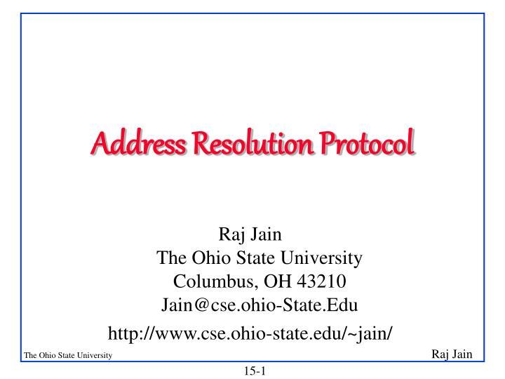 address resolution protocol n.