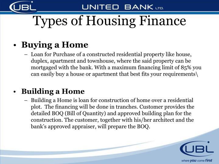 Types of Housing Finance