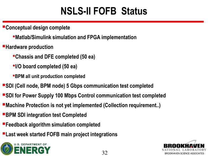 NSLS-II FOFB  Status