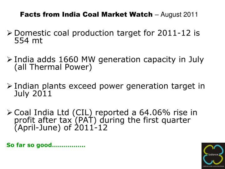 Facts from india coal market watch august 2011