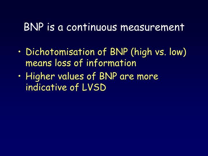 BNP is a continuous measurement