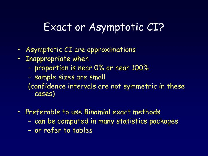 Exact or Asymptotic CI?