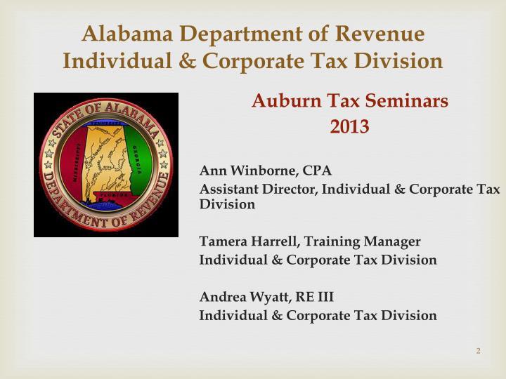 alabama department of revenue individual corporate tax division n.