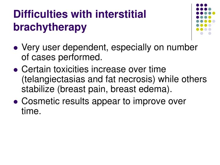 Difficulties with interstitial brachytherapy