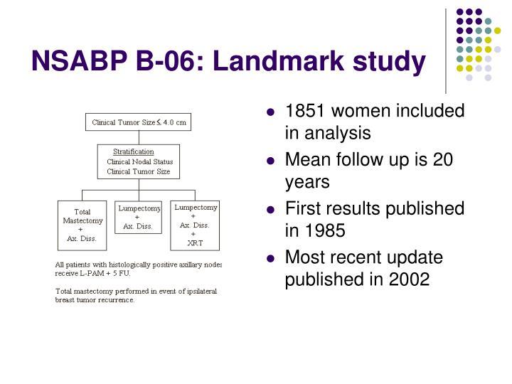 NSABP B-06: Landmark study