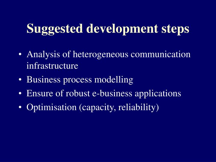 Suggested development steps
