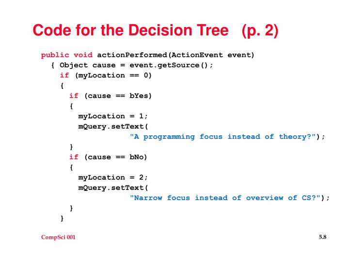 Code for the Decision Tree   (p. 2)