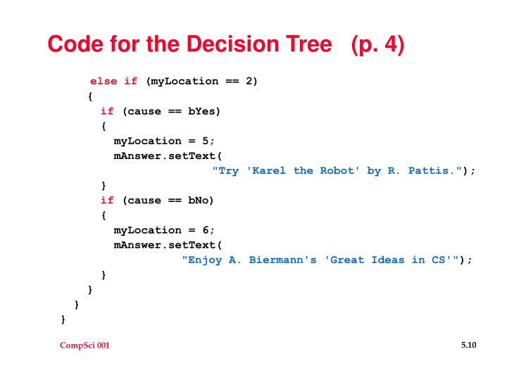 Code for the Decision Tree   (p. 4)