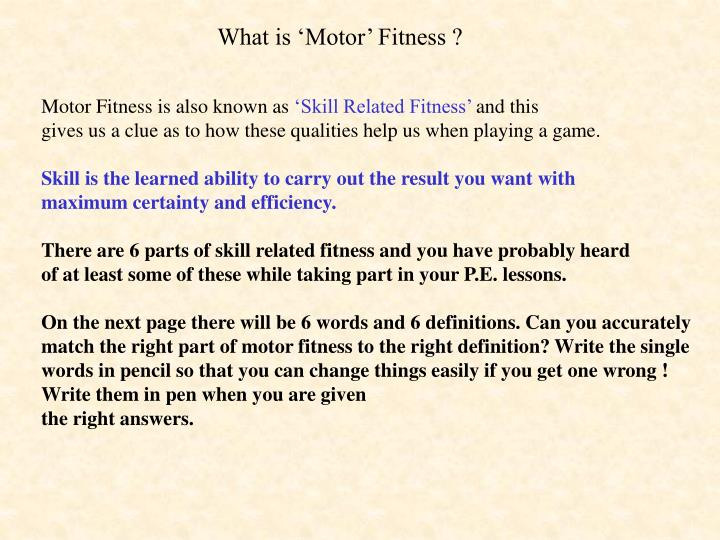 PPT - What is 'Motor' Fitness ? PowerPoint Presentation - ID