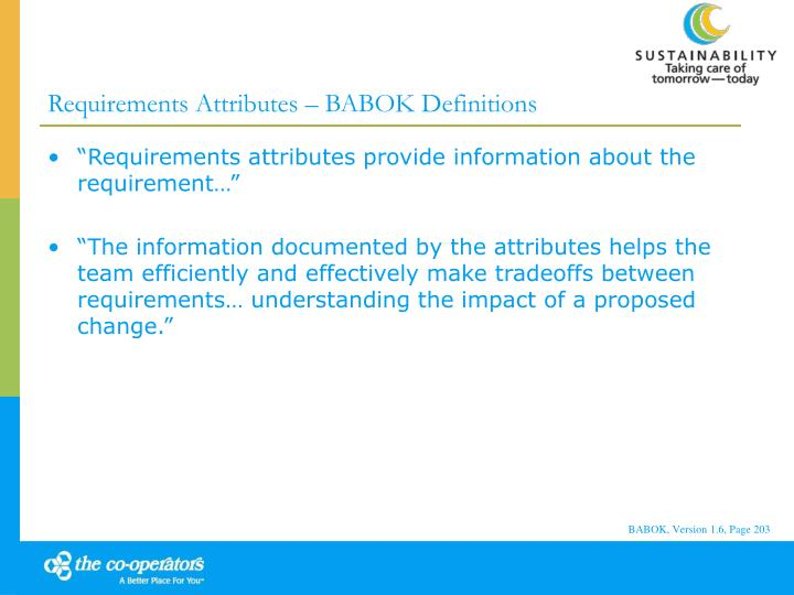 Requirements Attributes – BABOK Definitions