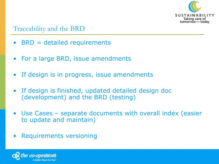 Traceability and the BRD