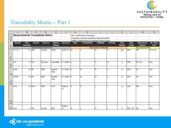 Traceability Matrix – Part 1