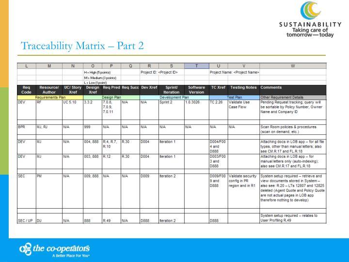 Traceability Matrix – Part 2