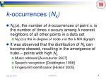 k occurrences n k