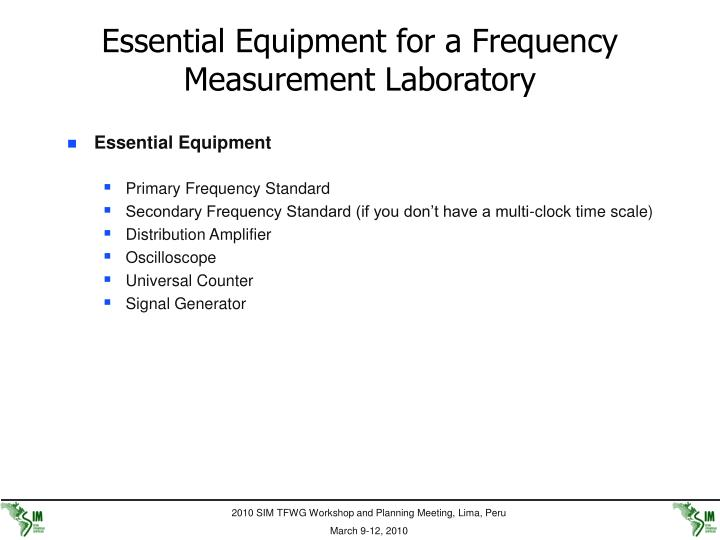 Essential Equipment for a Frequency Measurement Laboratory
