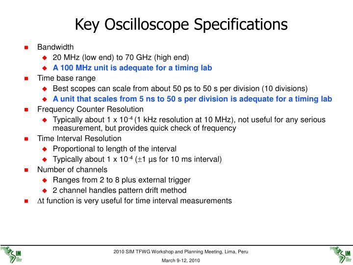 Key Oscilloscope Specifications
