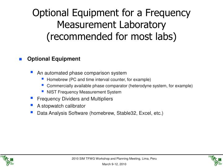 Optional Equipment for a Frequency Measurement Laboratory