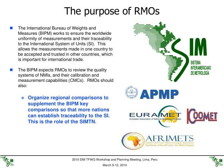 The purpose of RMOs