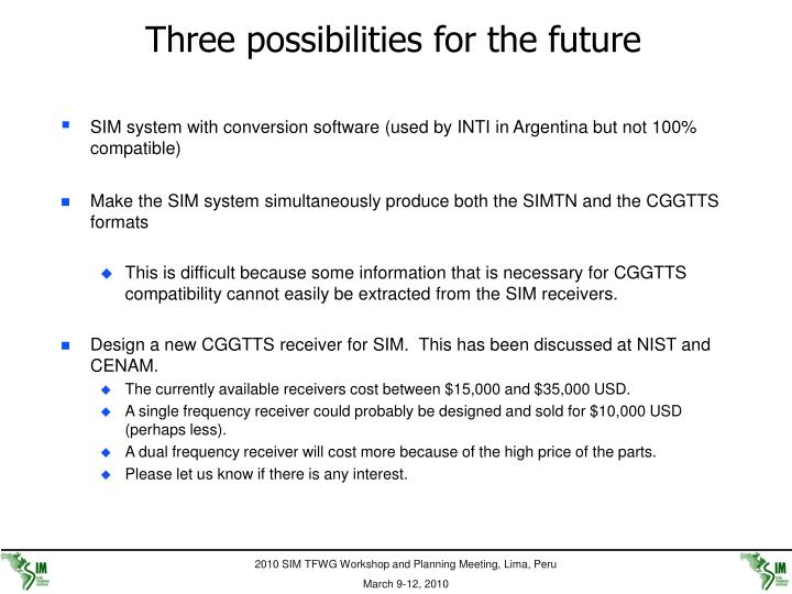 Three possibilities for the future